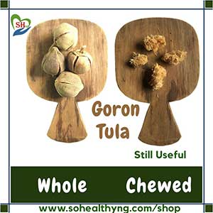 Chewed and whole goron tula fruits