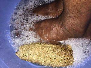 soak feet in water before you scrub with loofah